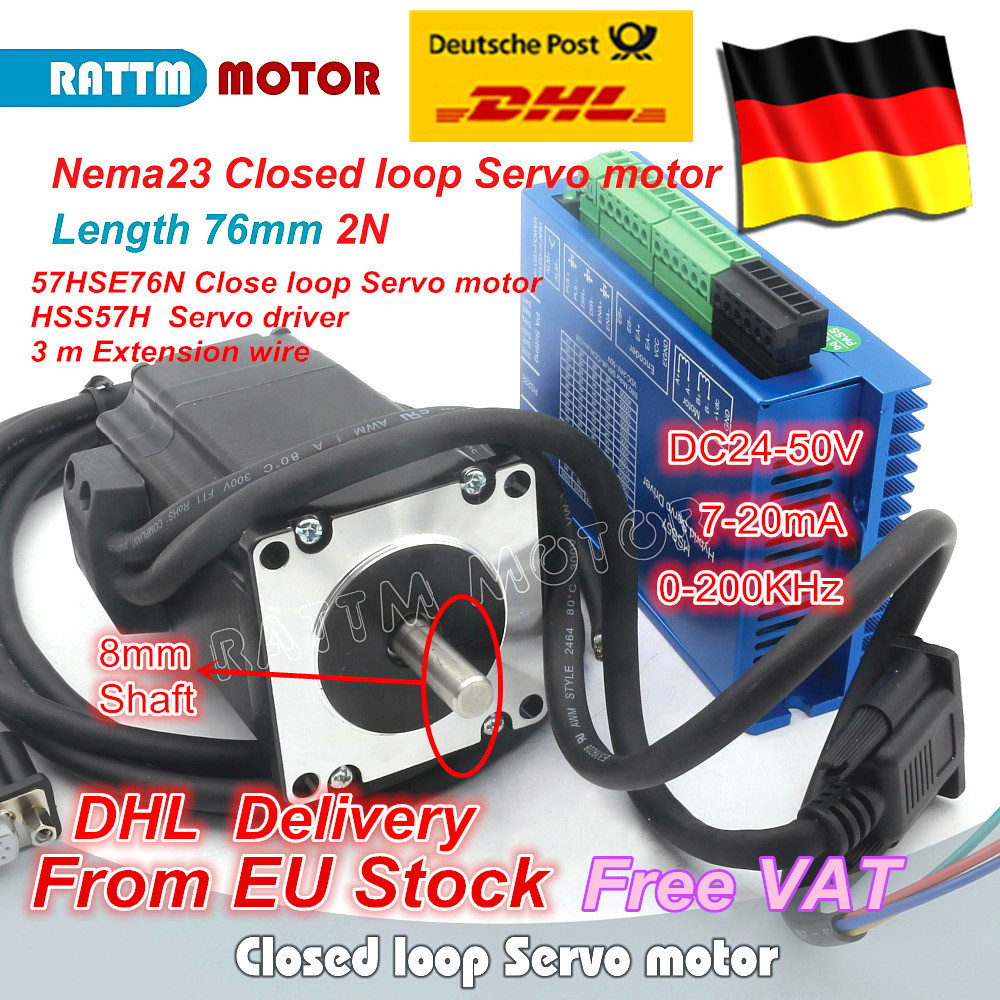DE SHIP 1Set Nema23 Closed Loop Servo Motor 76mm 4.2A Closed Loop 2N.m & HSS57 Hybrid Step-servo Driver CNC Controller Kit