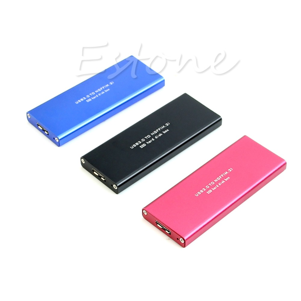 USB 3.0 to M.2 NGFF B Key SSD Adapter Card External Enclosure Case Cover Box
