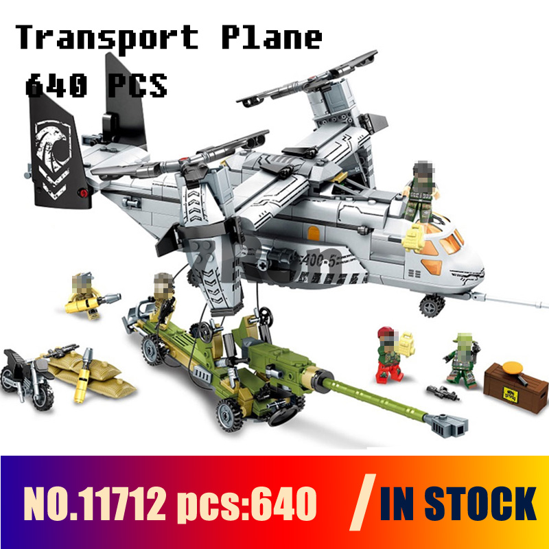 Compatible with lego Models building toy 11712 640pcs Military Helicopter Fighter Transport Plane Building Blocks toys & hobbies solar military transport plane baron p320 jigsaw puzzle building blocks environmental diy toy
