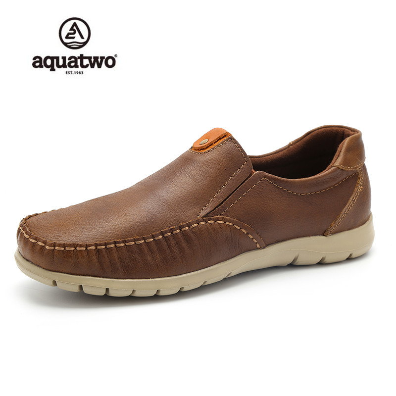 AQUATWO New Arrival Low Price Mens Breathable High Quality Casual Shoes Leather Casual Shoes Slip On Men Fashion Flats Loafer