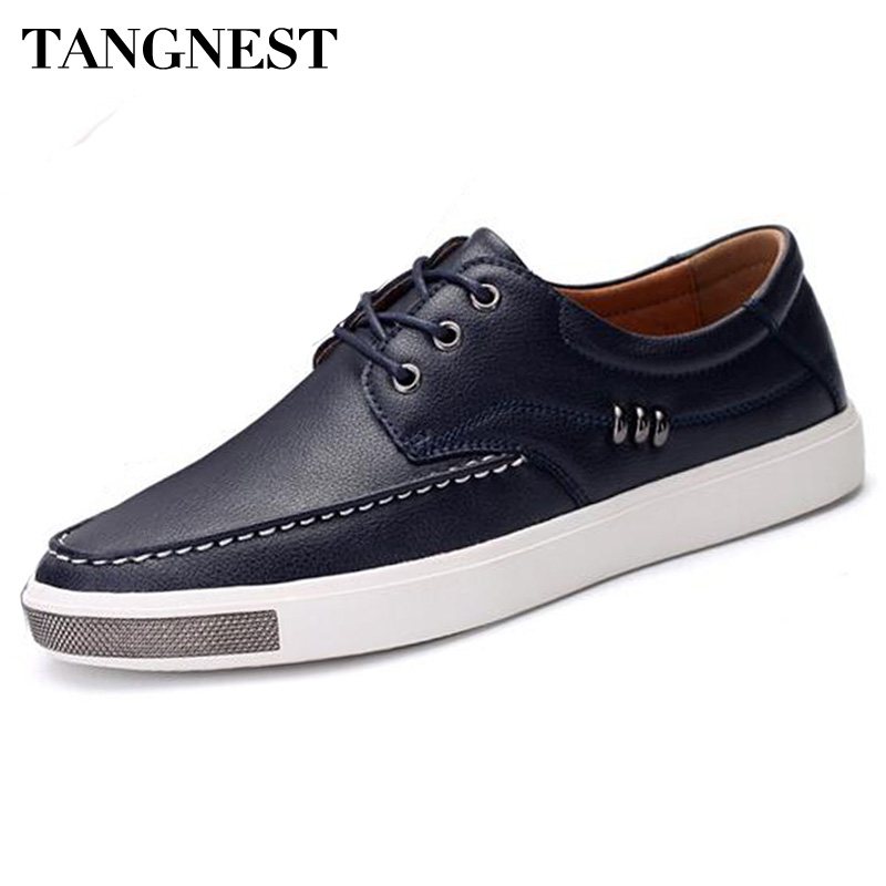 4e732cf8ca Tangnest Luxury Men Casual Dress Shoes British Style Cow Split Leather  Flats Man Metal Lace Up Shoes ...