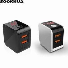 SOONHUA 2 Portas USB Carregador De Parede Dobrável 5V2. 4A Digital Visor Do Telefone Inteligente de Carregamento Adaptador EUA Ligue para iPhone X/iPad/Samsung