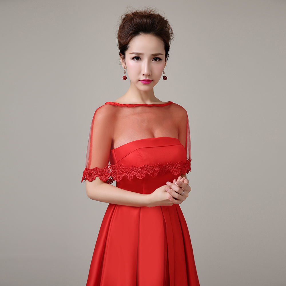 Women Evening Dress Cover Up Wrap Red Applique Edge Short Cape Tulle Sheer Summer Shawl For Wedding Bridal Handmade: Red Bridal Wedding Dress Cover Ups At Websimilar.org