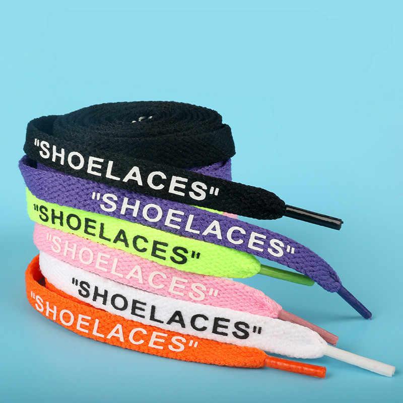 Shoelaces ตัวอักษรภาษาอังกฤษกีฬารองเท้าสีขาวรองเท้าเชือกผูกรองเท้าแบนคุณภาพสูงทนทานราคาถูก