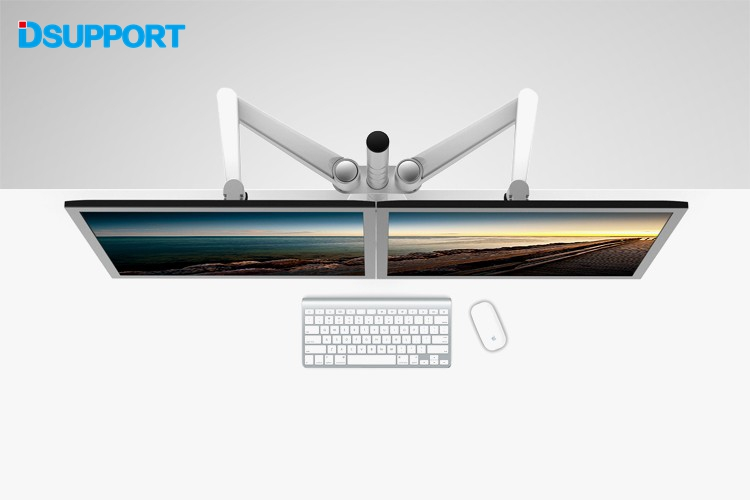 OA-4S Aluminum Alloy Desktop Double Arm Dual Monitor Holder Full Motion LED Screen Mount Arm Rotary Base Stand