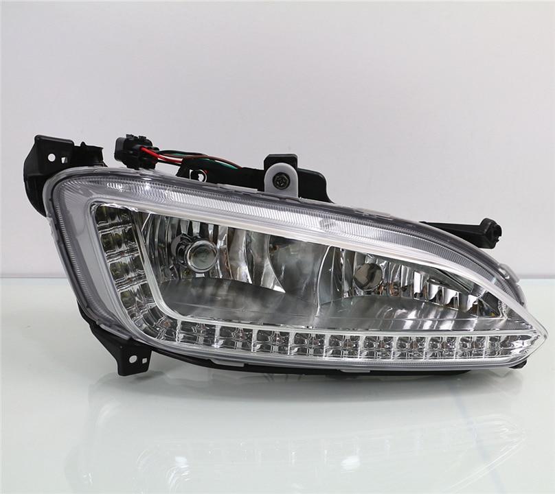 Car Flashing DRL For Hyundai Santa Fe IX45 2013 2015 Driving Daytime Running Light fog lamp
