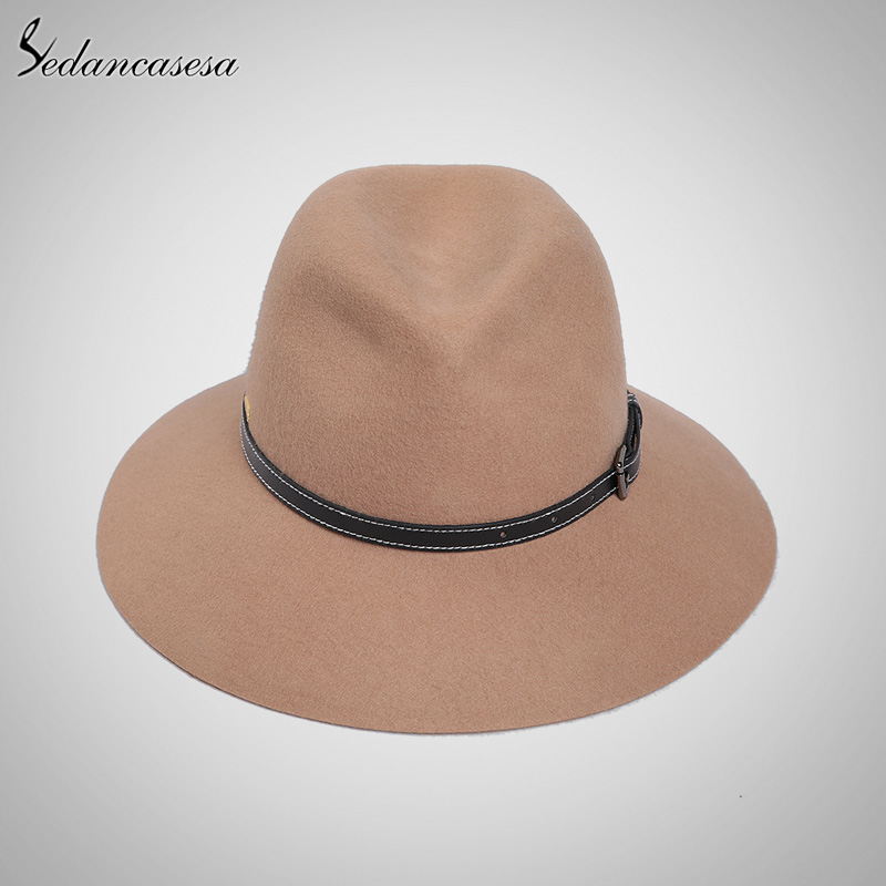 165d34ad334 2018 New Real Wool Felt Hat England Women Fedora Hat Wide Brim Hats With Big  Bowknot ...
