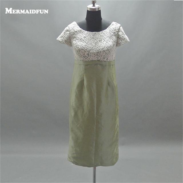 2017 Real Photos A Line Short Sleeve Lace Bodice Satin Skirt Short Bridesmaid Dresses Wedding Party Dress