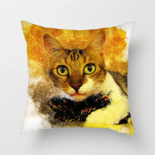 Fuwatacchi Cute Cat Cushion Cover Watercolor Painted Tiger Eagle Dog Pillow Covers Chair Sofa Home Decoration Animal Pillowcases