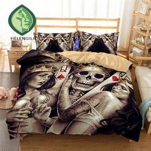 ФОТО helengili 3d bedding set skull print duvet cover set lifelike bedclothes with pillowcase bed set home textiles #2-01
