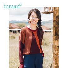 INMAN Winter New Arrival Female Round Collar Contrast Color Jacquard Loose Retro Literary Pullover Women Sweater(China)