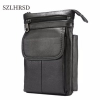 SZLHRSD Cell Phone Case Genuine Leather zipper pouch Belt Clip Waist Purse Cover Foor Oukitel WP2/HomTom C2/Doogee S70 Lite