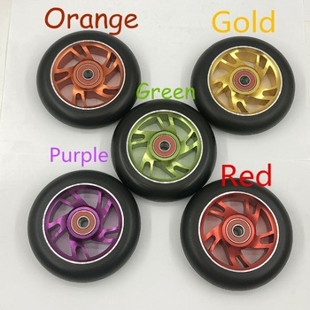 100mm Stunt Aluminium Alloy Scooter Wheels 2PCS Multiple Choices With Bearing High elastic PU Hardness 88A Wheels