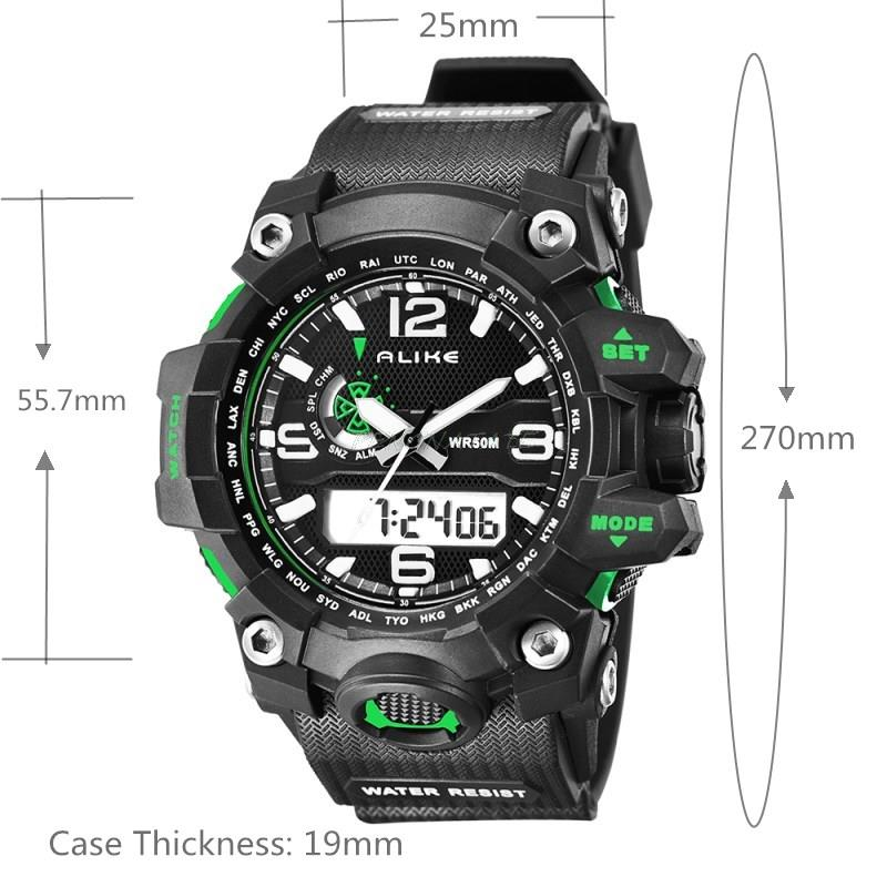 Alike Fashion Brand Sports Watch Men Digital Shock Resistant Quartz Alarm Wristwatches Outdoor Military Casual Watch PENGNATATE