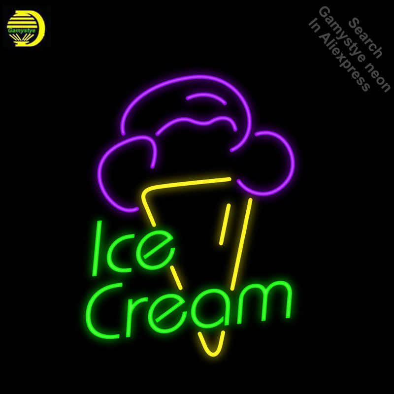 Неоновые вывески для мороженого ручной работы еда вывеска неоновые лампочки стеклянная трубка украшения отель Ресторан магазин Настенные знаки дропшиппинг