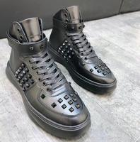 Высокие мужские кроссовки квадратные хольнитены Stud натуральная кожа шнуровка Повседневная обувь роскошный дизайн теплые туфли на плоской