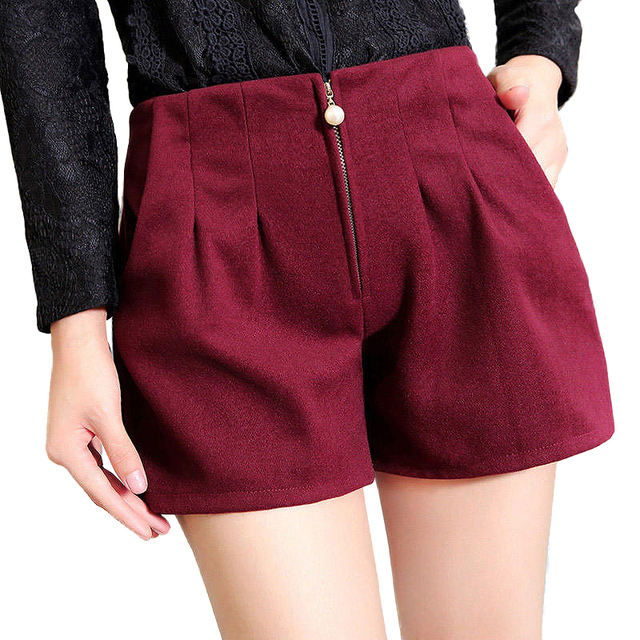 2016 New Fashion Sexy Autumn and winter winter wool shorts High Waist beading pearl Wool Female Shorts Women Shorts plus size