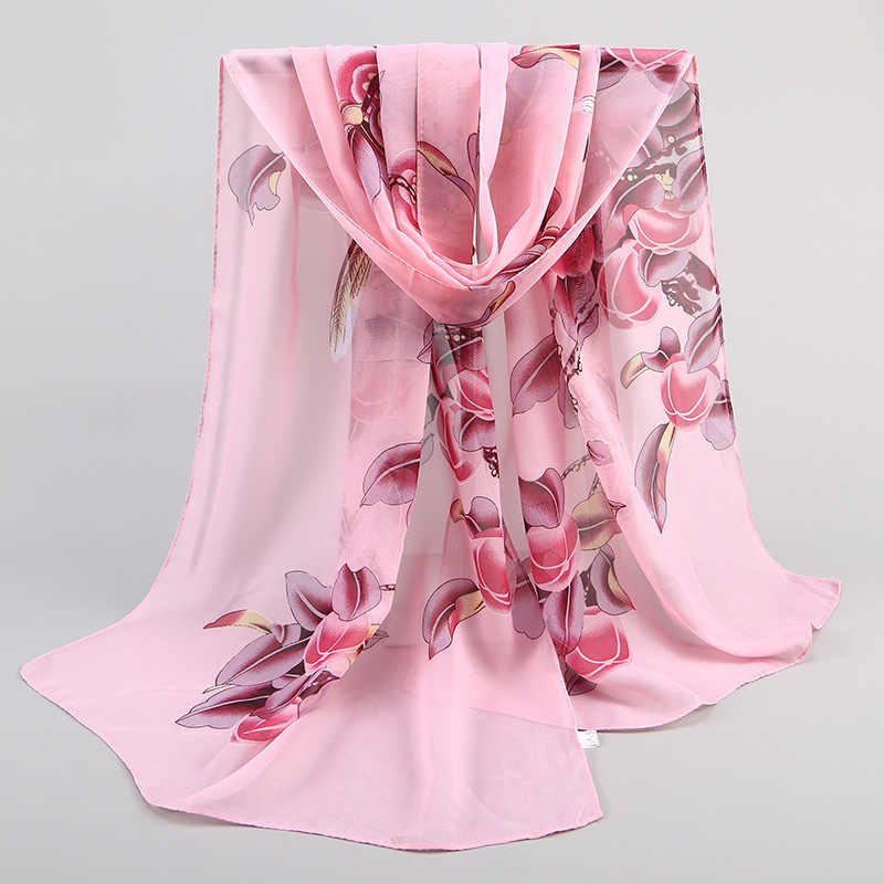 2019 New Spring Chiffon Woman Magpie Print Scarf Thin Breathable Long Floral Pattern Muffler Gift For Female Scarves 47*155cm