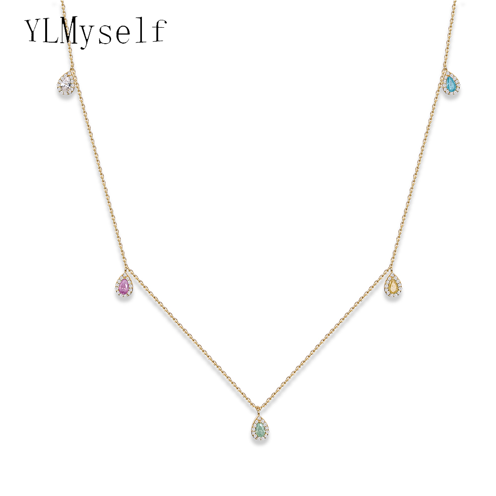 2019 new summer Stylish charm necklace Statement jewelry candy color stones waterdrop pendant choker necklaces
