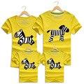 Family clothing cute family look impreso algodón de manga corta camisetas ropa de la familia padre madre niños set trajes de dibujos animados