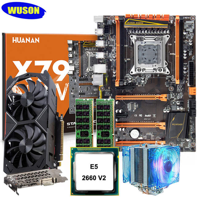 US $482 46 34% OFF 2 years warranty new HUANAN ZHI deluxe X79 motherboard  M 2 NVMe slot CPU Xeon E5 2660 V2 RAM 16G(2*8G) video card GTX1050Ti 4G-in