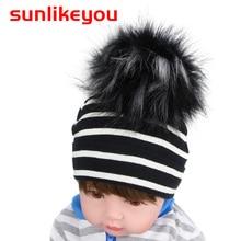 Sunlikeyou Fashion Newborn Baby Hats Cotton Breathable Girls Fur Ball Pom Hat Boys Kids Infant Summer Caps Bonnet