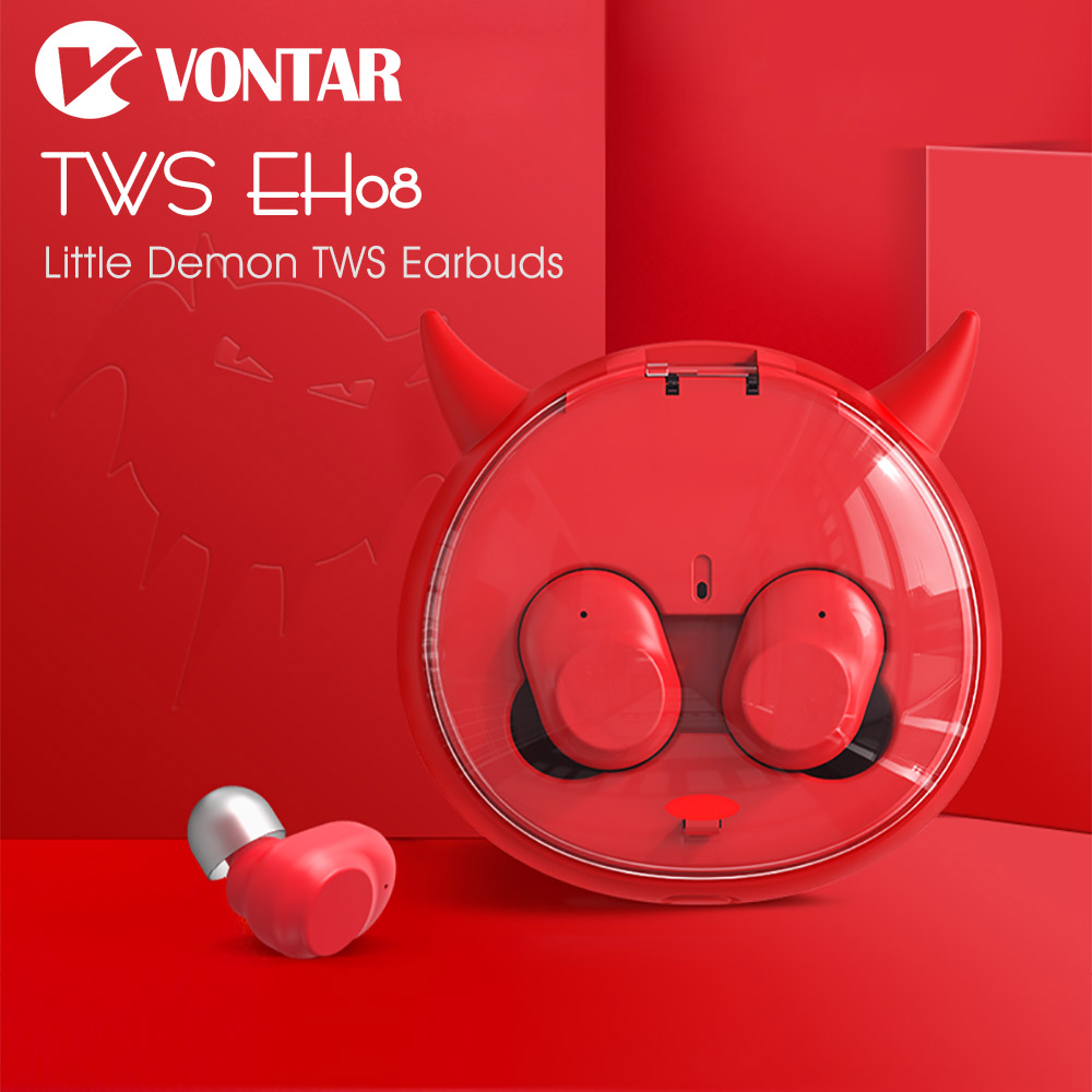 VONTAR EH08/ EH10 Little Demon Mini Portable Earbuds Bluetooth Wireless Headphones With Charging Box Noise Cancel TWS Headsets