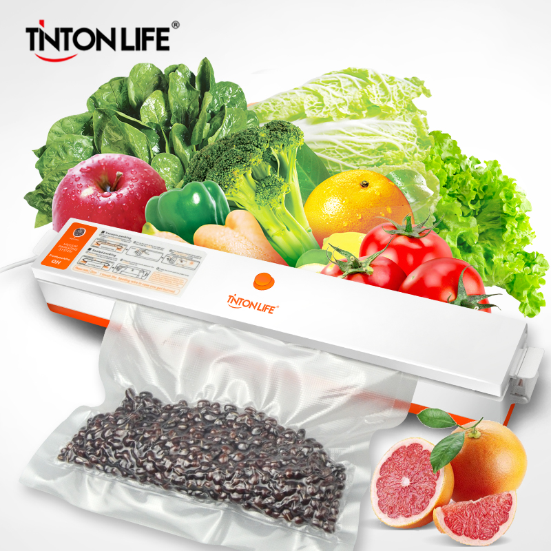 TINTONLIFE Household Food Vacuum Sealer Packaging Machine Film Sealer Vacuum Packer Including 15Pcs Bags