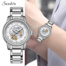 SUNKTA New Silver Quartz Ladies Watch Simple Fashion Casual Women Watches Waterproof Top Luxury Brand Zegarek Damski