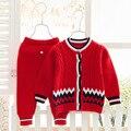 2016 Del Otoño Del resorte Del bebé traje de ropa infantil Establece Neonatales trajes suéter suéter bebé ropa 100% de Algodón Suave y fino