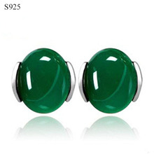 Natural Calcedony Genuine Real Pure Solid 925 Sterling Silver Stud Earrings for Women Jewelry Green Elegant Female Earrings(China)