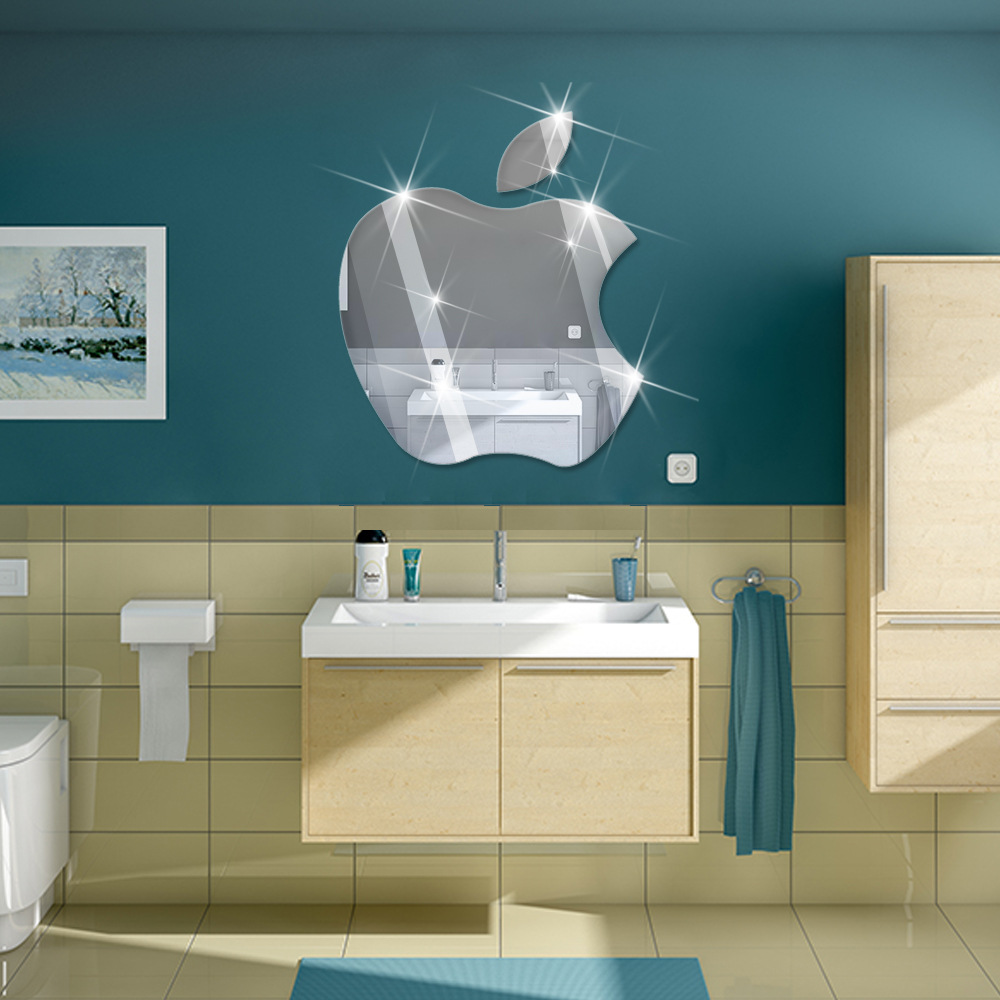 Online buy wholesale apple sticker mirrors from china apple diy mirror wall sticke removable home decor creative apple design adesivo de parede mirror wall stickers amipublicfo Gallery