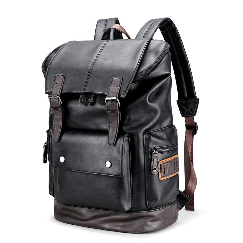 Black PU Leather men Backpack Japan Style Men School backpack for 14 Laptop Waterproof Schoolbag Fashion