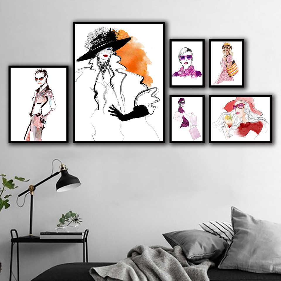 قماش اللوحات يطبع المنزل الشمال الأزياء نموذج الملصقات غرفة الديكور الفني جدار المائية وحدات الصور الساخن بيع