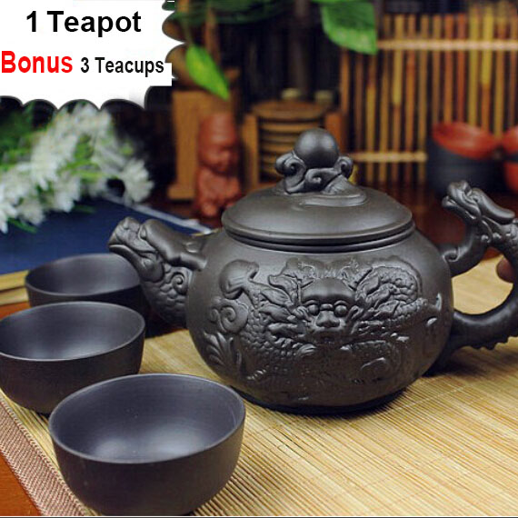 Authentic 4 Pcs Kung Fu Tea Set 1 Teapot 3 Cups 360ml Dragon Kettle Infuser Yixing