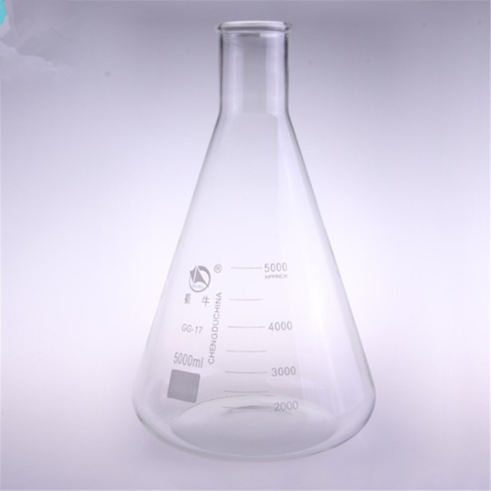 5000ml,Glass Erlenmeyer Flask,Glass Conical Flask,Narrow Neck ,Laboratory Glassware