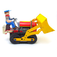 [Funny] Adult Collection Retro Wind up toy Metal Tin bulldozer worker Construction vehicle car Clockwork toy figure vintage toy