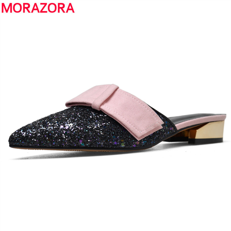 MORAZORA 2018 New fashion women shoes high quality Sequined Cloth + suede leather womens sandals summer ladies wedding shoesMORAZORA 2018 New fashion women shoes high quality Sequined Cloth + suede leather womens sandals summer ladies wedding shoes