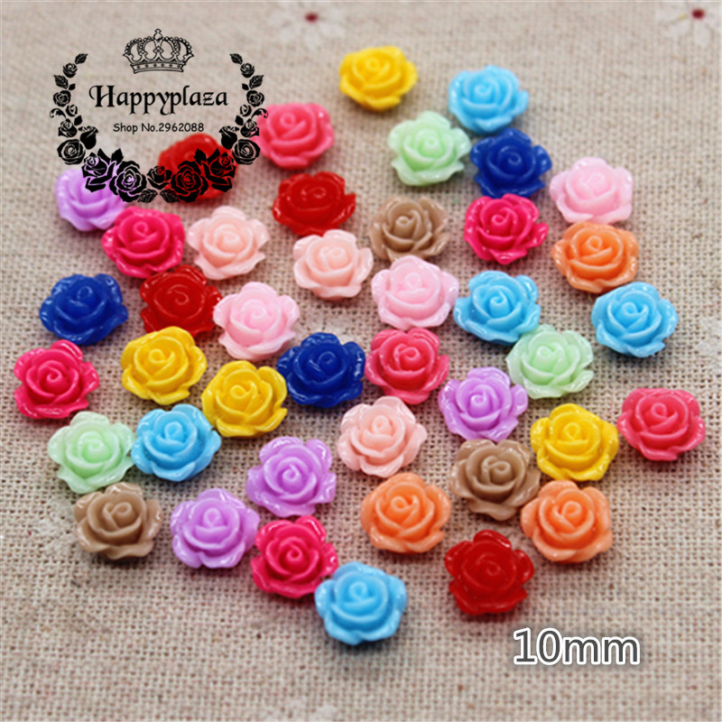 100PCS 10mm Mix Colors Cute Resin Rose Flowers Flatback Cabochon DIY Jewelry/Craft Decoration