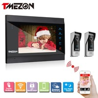 Tmezon IP Smart Video Door Phone 7 TFT Monitor 2pcs 1200TVL Camera Intercom Security Doorbell System
