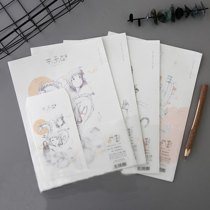 9 Pcs/set Cartoon 3 Envelopes + 6 Writting Paper Letters Hayao Miyazaki My Neighbor Totoro Cat Envelope Letter Set Stationery