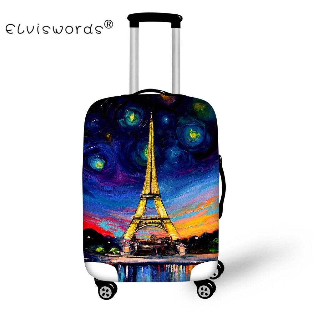 ELVISWORDS дорожные аксессуары для 18-30 дюймов Чемодан Защитная крышка Эйфелева башня тележка эластичным чемодан пыль дождь охватывает