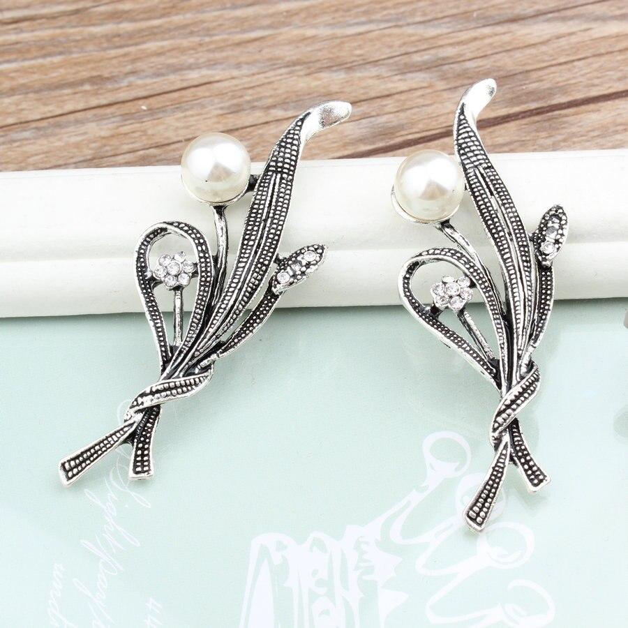 DIY Jewelry Findings Vintage Silver Tone Alloy Leaf Flower Button Patch Sticker Charm Craft Fit Garment Handbag Hair Jewelry DIY