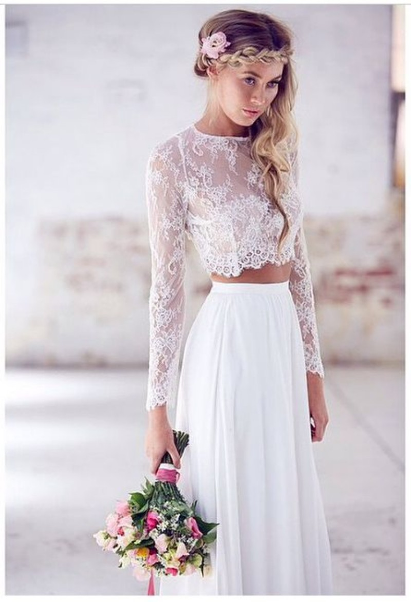 Beach Wedding Dresses Two Piece 2015 Jewel Neck A Line Bridal Gown With Chiffon Long Sleeve Vintage Lace Dress Boho In From Weddings