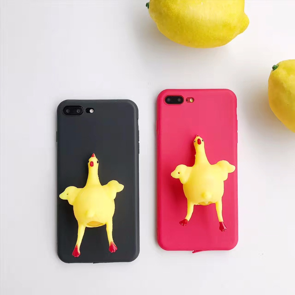 Fashion Creative Women Men Chicken Punk Rub Phone Case Cover Squishy for  iphone7 7 Plus 6 x Plus poke funny animals cover coque-in Fitted Cases from  ... d34d6cc05