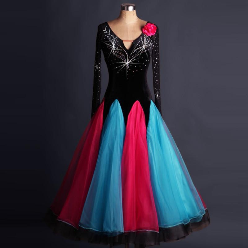 plus size  black rhinestone Tassel Ballroom dancing dresses Viennese standard ballroom dance dress ladies ballroom dance dresses