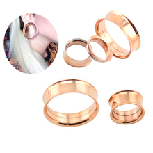 Tunnel Earrings Plugs And Tunnels Rose Gold 0 Gauge Plugs Ear Expander Stretcher Screw On Fit Industrial Piercing Body Jewelry(China)