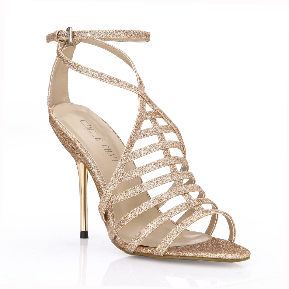 CHMILE CHAU Glod Glitter Sexy Wedding Bridal Shoe Women Stiletto Iron High  Heel Gladiator Rome Lady Sandal Zapatos Mujer 3845C 4-in High Heels from  Shoes on ... 3d0e0ff67de4
