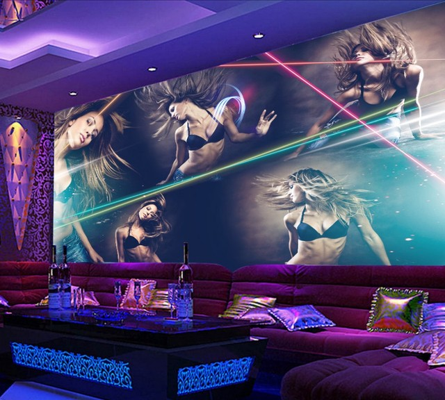 Free Shipping Sexy Beauty Hotel Bar Mural Night Club KTV Custom 3D Photo Wallpaper Background