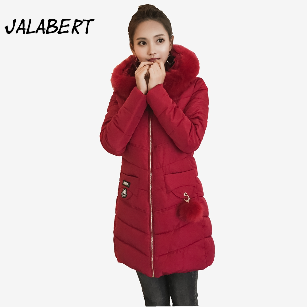 2017 new winter Cotton coat women Slim long hooded Big fur collar jacket Female Thicker pattern fashion casual warm Parkas women winter coat leisure big yards hooded fur collar jacket thick warm cotton parkas new style female students overcoat ok238